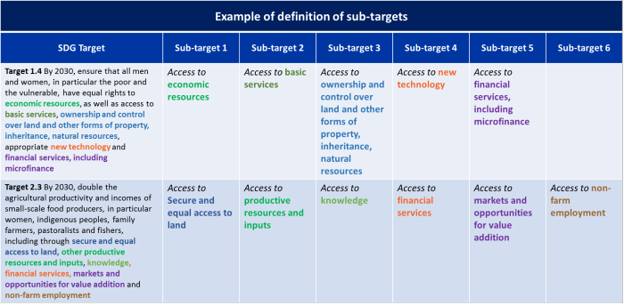 Example of definition of sub-targets